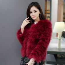 New Women's Winter Real Ostrich Fur Outwear Overcoat Short Jacket Fashion coat