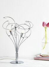 Modern Chrome Swirl 3 Light Table Lamp Bedside Light w/ Crystal Jewels BHS Lila