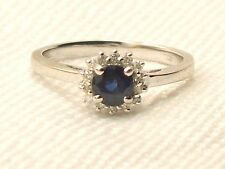 Estate 14K White Gold Blue Sapphire & Diamond Ring Signed QCD