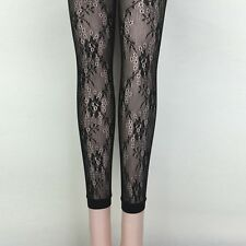 Women Lady Hollow-out Flower Floral Fishnet Footless Leggings Leopard Net Tight