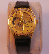 Allwyn Throb, Skeleton Yellow Dial, Golden finish, Rare Collectible Wrist Watch