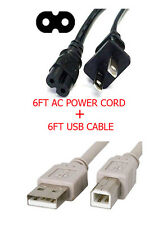 Canon PIXMA Printer MP495 MP620 MP340 MP410 Fig8 AC Power Cable Cord + USB Cable