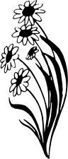 "Daisy Flower Vinyl Decal Sticker Truck Window- 6"" Tall White Color"