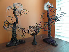 Dept 56 Oak Tree Black Dead Vine Spooky Glitter Halloween Village Accessory Lot