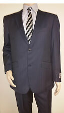 Men's Premium Quality Fancy Stripe Modern Fit Dress Suits Navy Brand New 48R