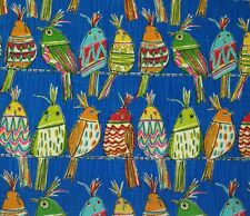 "RICHLOOM SITTING PRETTY LAPIS BLUE GREEN ABSTRACT BIRDS FABRIC BY THE YARD 54""W"