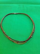 Silpada N1833 Triple Strand Multi Color Leather Necklace Silver Beads