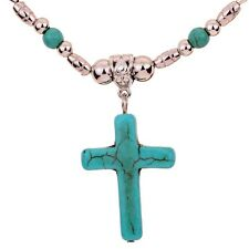 Fashion Design Jewelry Turquoise Cross Tibetan Silver Pendant Chain Necklace