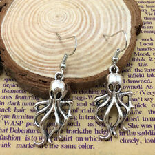 Octopus Earrings Steampunk Nautical Squid Kraken Pirate antique Silver Jewelry