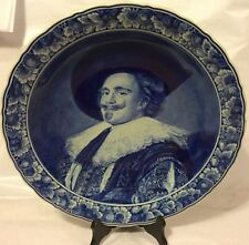 Large Delft Porcelain Blue White Wall Charger Plate Portrait Signed Frans Hals