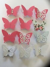 "12pcs 3D ""Girl"" Butterfly Stickers Card topper Paper Crafts Art Wall Decor DIY"
