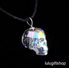 925 STERLING SILVER 13MM AB 3D SKULL HEAD AUSTRIAN CRYSTAL PENDANT NECKLACE COOL