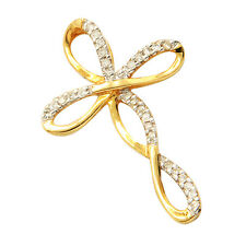 SMALL NATURAL 14K YELLOW GOLD .10C PAVE DIAMOND INFINITY CROSS PENDANT NECKLACE