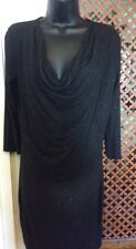 linea black cowl jersey dress, 3/4?sleeves, silver sparkle, small, new
