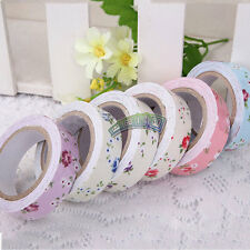 Vintage Washi Tape Floral Flower 15mm Roll Decor Adhesive Sticker Craft Fabric