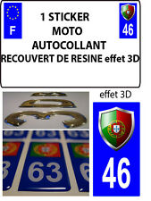 1 sticker plaque immatriculation MOTO TUNING 3D RESINE  BLASON PORTUGAL DEPA 46