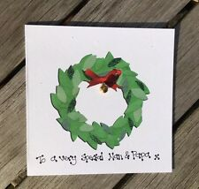 Personalised Christmas Card Merry Christmas Wreath Grandparents Wife Xmas card