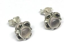 Handmade 925 Sterling Silver Rose Quartz Round Flower Stud Earrings 9mm Boxed
