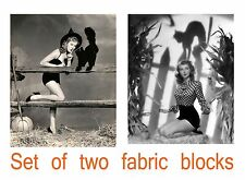 Set of TWO Vintage Black & White Photo of Pinups with Black Cats Fabric Blocks
