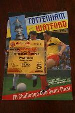 Tottenham Hotspur v Watford 1987 FA Cup Semi-Final Programme + Ticket Stub