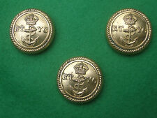 Three 24mm Large Size Royal Thames Yacht Club Military Brass Coat Buttons