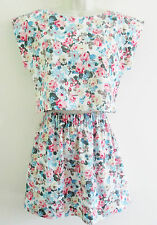80s Vintage Retro 2 Piece Cotton Mix Skirt & Boxy Crop Top Small Summer Floral