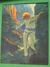 """Maxfield Parrish """"The Canyon"""" Art Print 1980's Reprint Girl on Rocks Mint WOW A+"""