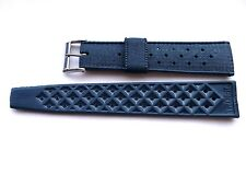 BLUE 20mm Swiss Tropic original perforated skin diver watch strap 1970's. NOS.