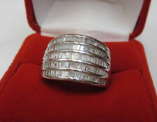 1.46 CT Natural Real Baguette Diamond Wide Multi Row Cigar Band Ring Silver Sz 8