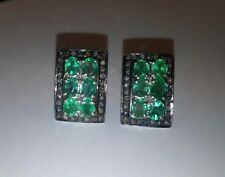 Solid 925 Sterling Natural Gem Stone Emerald And Diamonds Men's Cufflink