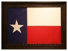Custom Dark Stained Current State of Texas Framed Flag