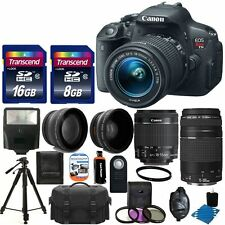 Canon Eos Rebel T5I Camera +4 Lens 18-55mm STM + 75-300mm + Top Accessory Bundle