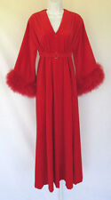 VINTAGE 1960s MOD STELLA FAGIN BY GIDA RED SLEEP ROBE FEATHERS SMALL COTTON POLY