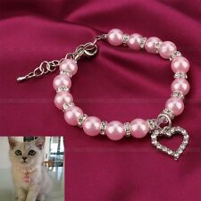 Dog Artificial Pearls Necklace Rhinestones LOVE Charm Pendant Pet Puppy Collar