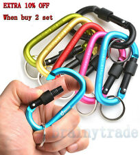 6PCS Camping Outdoor Aluminum Alloy D Screw Lock Carabiner Clip Hook Key Chain