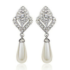 18K WHITE GOLD PLATED GENUINE SWAROVSKI CRYSTAL DANGLE PEARL EARRINGS