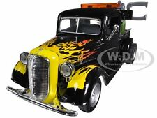 1937 FORD TOW TRUCK BLACK W FLAMES 1/24 DIECAST CAR MODEL BY MOTORMAX 75341