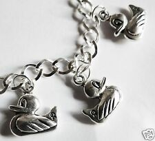 'RUBBER DUCK' SILVER TONE HANDMADE BRACELET 19- 21 CM CHOICE OF LENGTHS