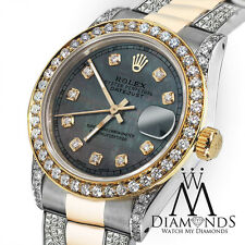 Ladies 26mm Rolex Oyster Perpetual Datejust Custom Blue Diamond Dial