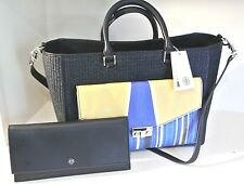 Summer SALE NWT TORY BURCH T-LOCK Straw Tote with Clutch, Navy/yellow $545