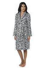 womans dressing gown ANIMAL PRINT SUPERSOFT ROBE GREY MED