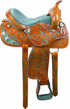 16 GREEN BARREL RACER WESTERN PLEASURE TRAIL HORSE LEATHER SADDLE