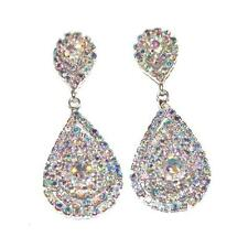 Vintage Style AB Rhinestone Tear Drop Dangle Wedding Fancy Statement Earrings