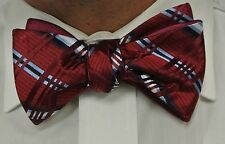 "NEW! Hand Made.100% Silk BURGUNDY  REVERSIBLE Stripes SELF TIE Bow Tie.2.5""wide."