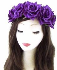 Large Purple Rose Flower Headband Halloween Day of the Dead Sugar Skull Hair 653
