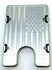 Mens Large American Flag Aluminum Wallet RFID protection, silver anodized