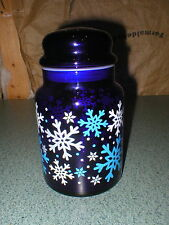 Cobalt Blue Glass Jar White Snowflake Canister Storage Candy Jar & Lid