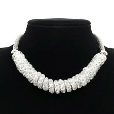 HOT Fashion silvery Mesh Wrap Crystal Necklace Clavicle chain LL153