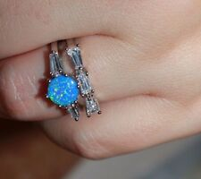 blue fire opal topaz gemstone 2 rings silver jewelry 5.5 chic engagement band