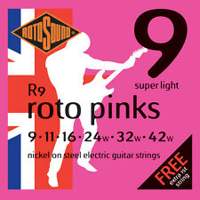 6 sets Rotosound R9 Roto Pinks Super Light Gauge Nickel Electric Guitar Strings